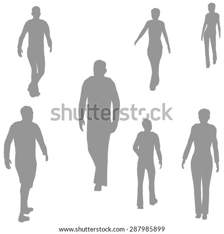 Grey silhouettes of walking people. It can be used to illustrate the rapid rhythm of urban life