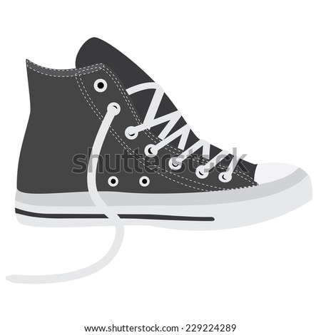 Grey sneakers, running shoes, sneakers isolated, walking shoes - stock vector