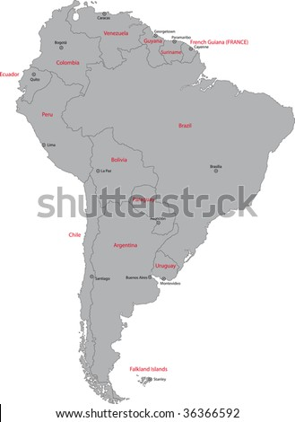 Grey south america map countries capital stock vector 36366592 grey south america map with countries and capital cities gumiabroncs Choice Image