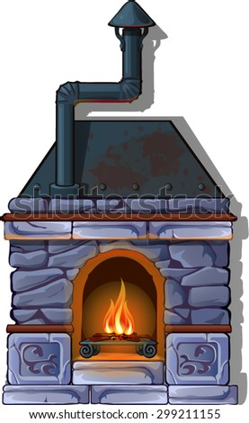 grey stone fireplace in a cozy home environment - stock vector