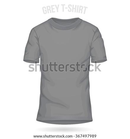Grey T-shirt Template Man - stock vector