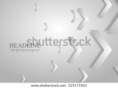 Grey tech geometric corporate background with arrows. Vector design - stock vector