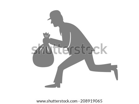 Grey thief icon on white background - stock vector