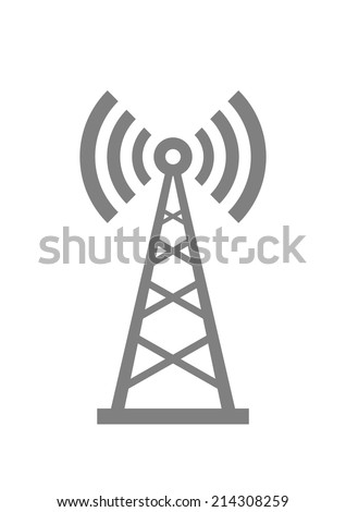 Grey transmitter icon on white background  - stock vector