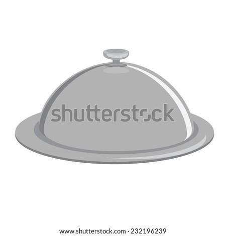 Grey tray, kitchenware, trey isolated, tray vector, closed tray - stock vector