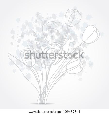 Grey Tulip flowers. Vector background - stock vector