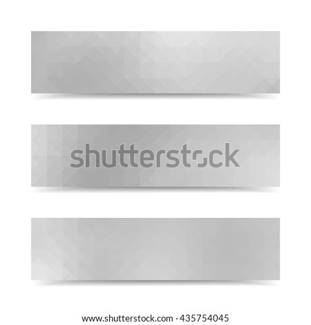 Grey vector banners set with polygonal abstract triangles. - stock vector