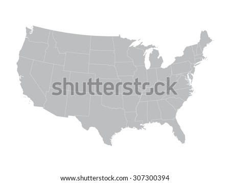 Grey Vector Map United States State Stock Vector (Royalty Free ...