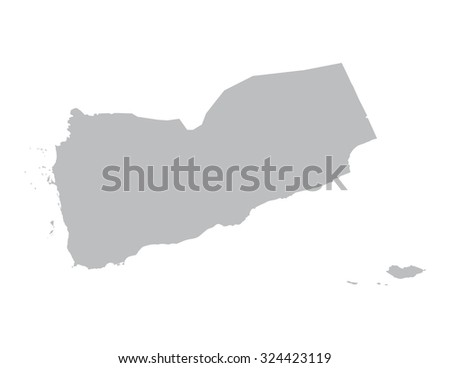 grey vector map of Yemen  - stock vector