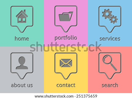 Grey vector website menu icons on colorful rectangles - stock vector