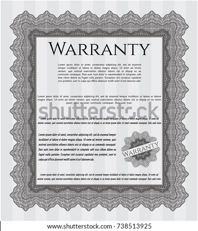 Warranty grey vintage warranty certificate template money pattern design complex background detailed yelopaper Image collections