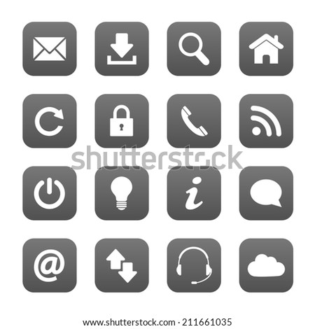 Grey web buttons - stock vector