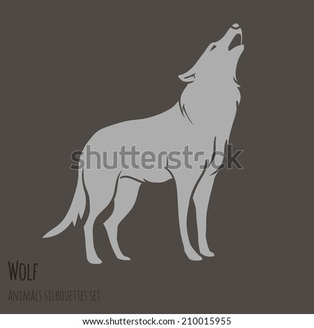 Grey Wolf Silhouette on brown background. vector illustration - stock vector