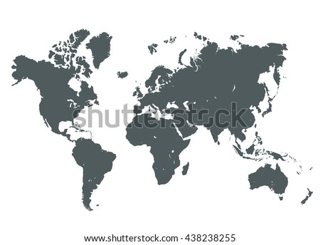Grey World Map Vector Illustration. Empty template without country names text. Isolated on white background - stock vector