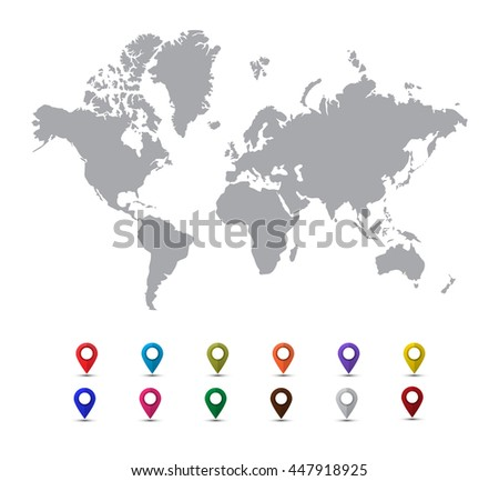 Grey world map with colorful pointer marks isolated on a white background.Flat style illustration - stock vector