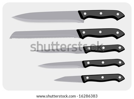 Greyscale color illustration of a set of knives for kitchen.