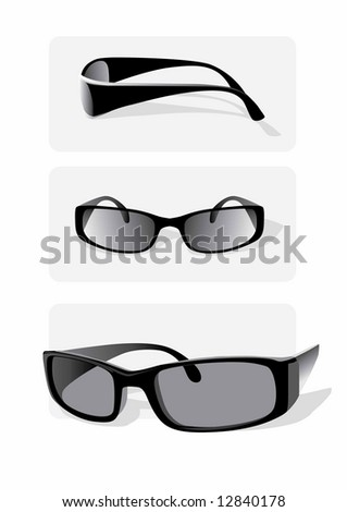 Greyscale vector image: three views of a pair of sunglasses.