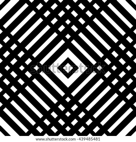 Grid, mesh seamless geometric pattern. Monochrome texture. Vector illustration - stock vector