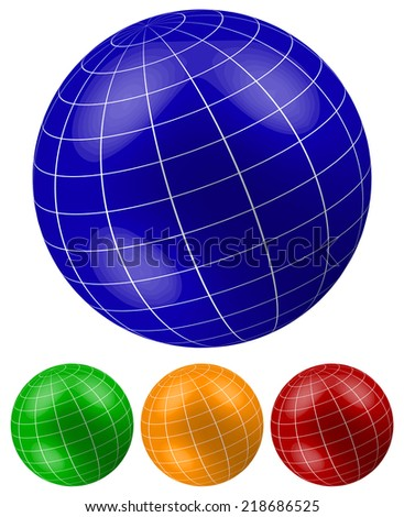 Grid, wireframe spheres, globes - stock vector