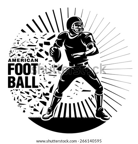 Gridiron football. Player with ball during the game. Vector illustration in the engraving style - stock vector