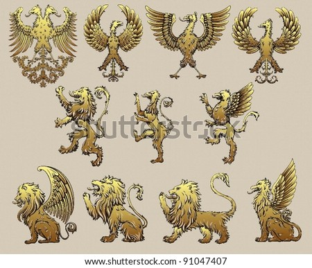 griffins - stock vector