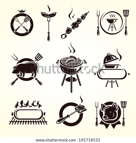 Grill elements set. Vector - stock vector