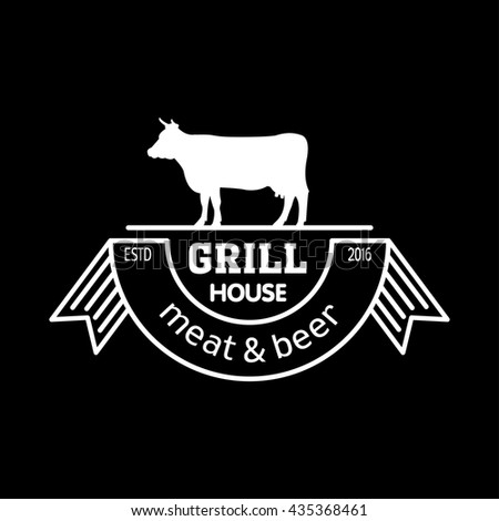 Grill house. Meat and beer. Vintage logo grill chalk on a black Board.