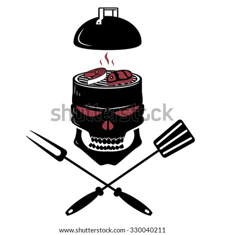 grill in the shape of the skull. Logo design template. Vector illustration. - stock vector