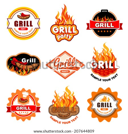 grill labels - stock vector