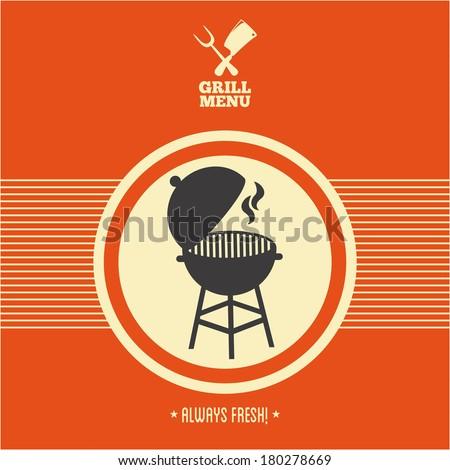 Grill menu barbecue on orange background, vector illustration - stock vector