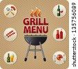 Grill menu card design template - stock vector