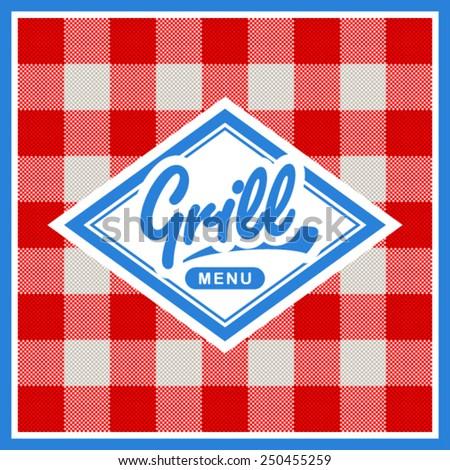 Grill menu design - stock vector