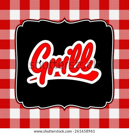 Grill menu design on tablecloth pattern - stock vector