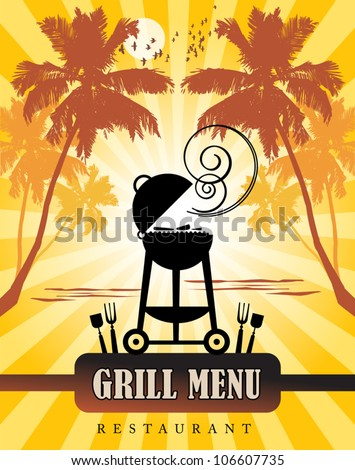 Grill Menu tropical, vector illustration - stock vector