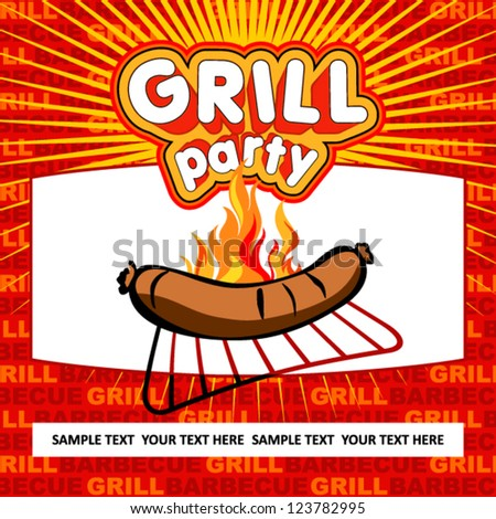 Grill party background. - stock vector