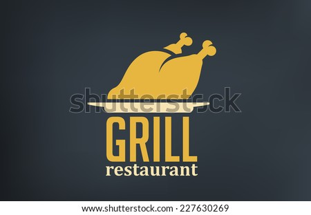 Grill Restaurant Logo design vector template. Roasted Chicken Turkey cock silhouette on dish logotype. - stock vector