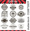 Grill vintage design elements and badges set.Collection of barbecue vector signs, symbols and icons. Set of bbq design elements. Burgers badges stickers and labels food set. - stock photo