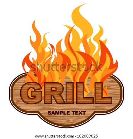 Grill  wooden background.