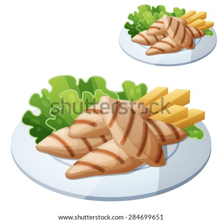 Grilled chicken strips. Detailed vector icon isolated on white background. Series of food and drink and ingredients for cooking. - stock vector