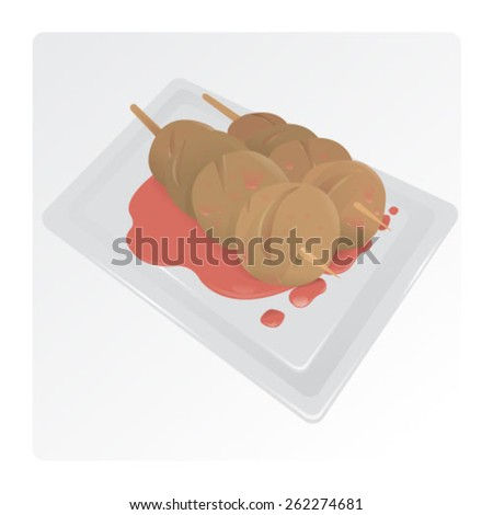 grilled meat balls - stock vector