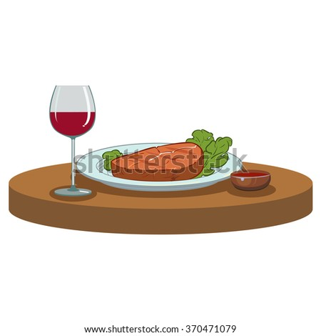 Grilled meaty Steak and a glass of red wine - stock vector