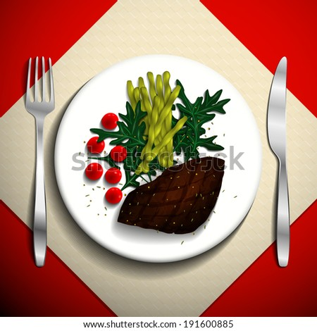 Grilled steak and French bean with cherry tomato and arugula on white plate. - stock vector