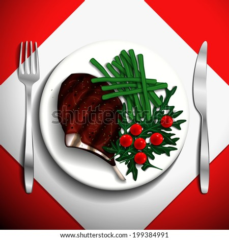 Grilled steak rib-eye and French bean with cherry tomato and arugula on white plate. - stock vector