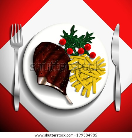 Grilled steak rib-eye and french fries with cherry tomato and arugula on white plate. - stock vector