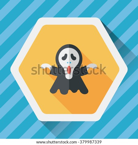 Grim Reaper flat icon with long shadow,eps10 - stock vector