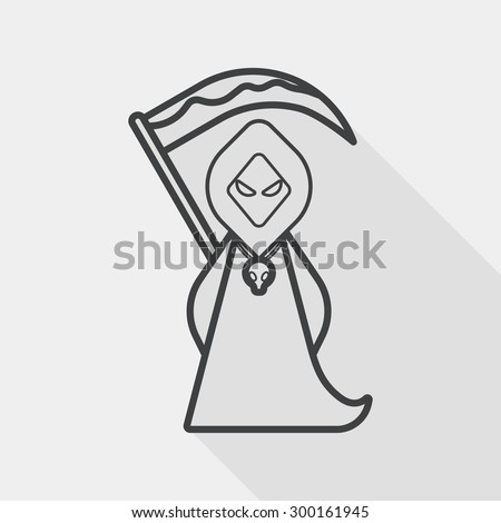 Grim Reaper flat icon with long shadow, line icon - stock vector