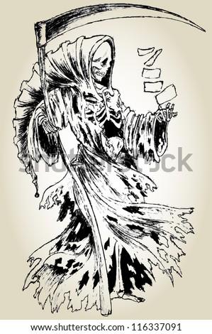 Grim Reaper in cloak with scythe - stock vector
