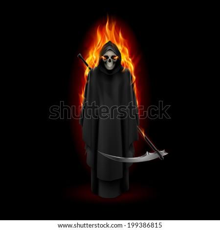 Grim Reaper in orange flame over black background - stock vector