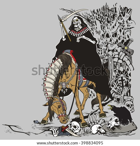 grim reaper symbol of death and time sitting on a horse and holding scythe in old cemetery  - stock vector