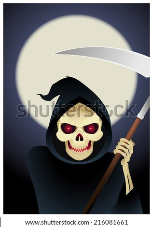 Grim reaper, the angel of abyss and death illustration - stock vector